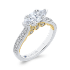 Carizza 14K Two-Tone Gold Marquise Diamond Engagement Ring (Semi-Mount)