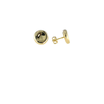 18KT GOLD BUTTON STUD EARRINGS