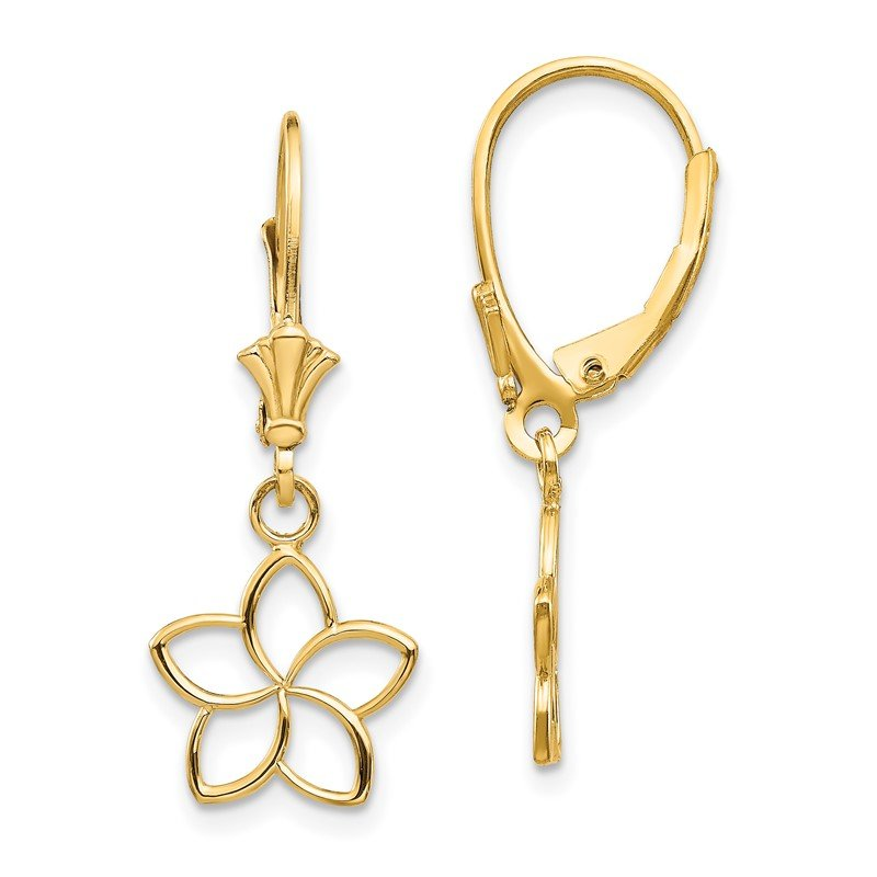 Quality Gold 14k Polished Cut Out Flower Lever Back Earrings