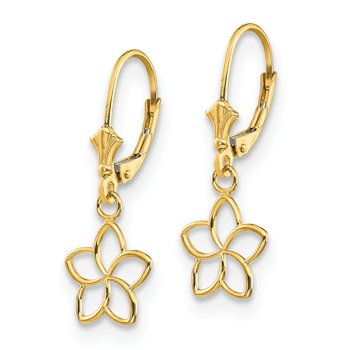 14k Polished Cut Out Flower Lever Back Earrings