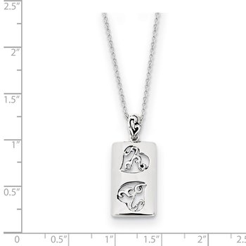 Sterling Silver Antiqued Girlfriends Two 18in Necklace