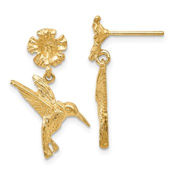 14k Hummingbird Dangles from Flower Post Earrings
