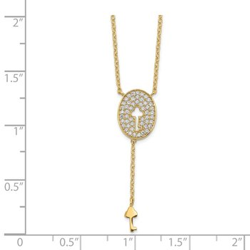 14K Oval & Key Design CZ Necklace