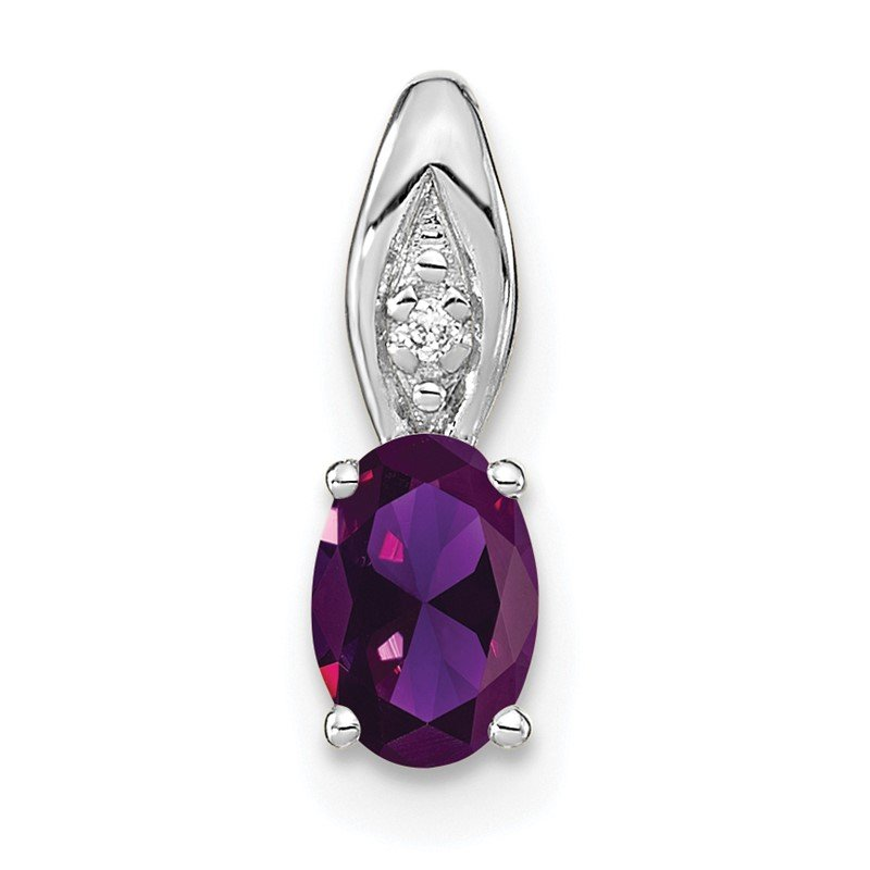 Quality Gold 14k White Gold Amethyst and Diamond Pendant