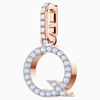 Swarovski Remix Collection Charm Q, White, Rose-gold tone plated
