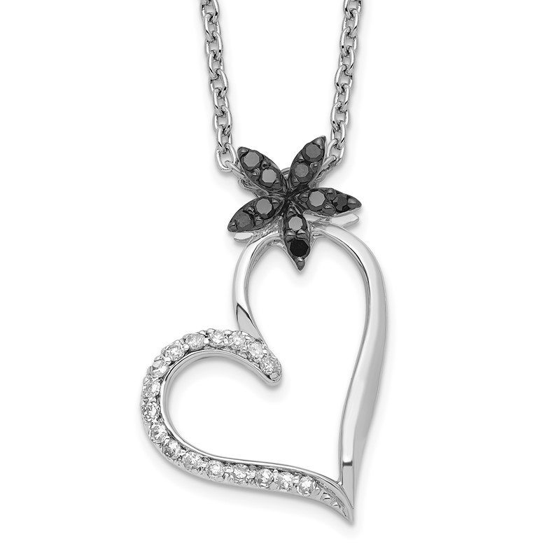 Sterling Silver Rhodium Plated Black & White Diamond Heart Pendant Necklace