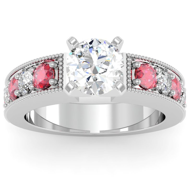 California Coast Designs Milgrain Pave Diamond & Ruby Engagemant Ring