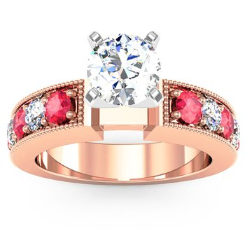 Milgrain Pave Diamond & Ruby Engagemant Ring