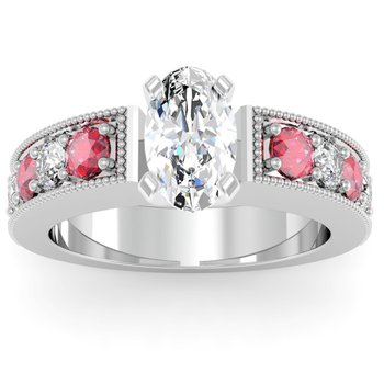 Milgrain Pave Diamond & Ruby Engagemant Ring
