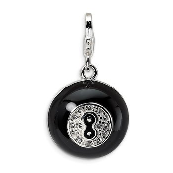 Sterling Silver Amore La Vita Rhod-pl 3-D Swarovski Magic 8 Ball Charm