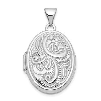 14k White Gold Scroll Design Domed Oval Locket