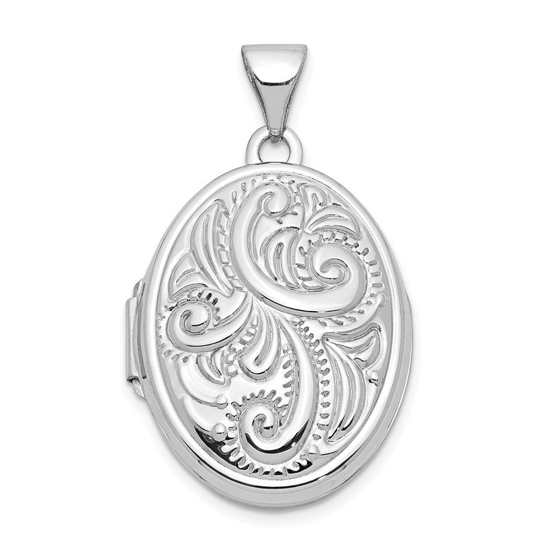 Quality Gold 14k White Gold Domed Oval Locket