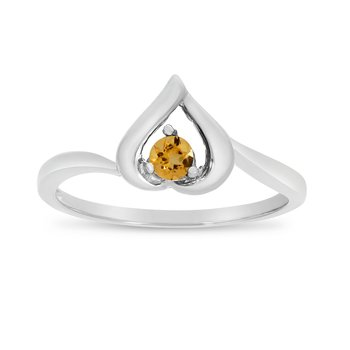 10k White Gold Round Citrine Heart Ring
