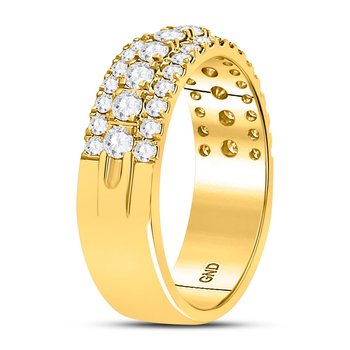 10kt Yellow Gold Womens Round Diamond Triple Row Comfort Wedding Band 1.00 Cttw