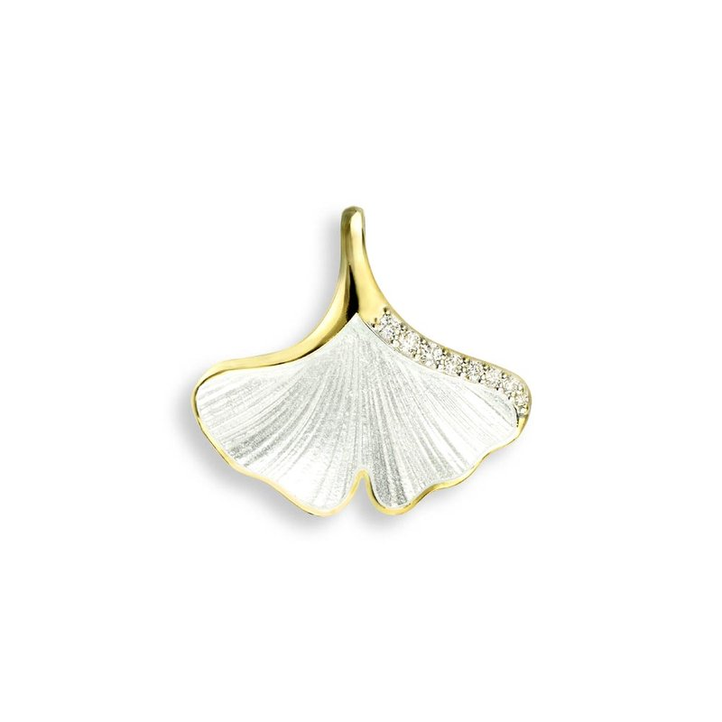 Nicole Barr Designs White Ginkgo 1-Leaf Pendant.18K -Diamond