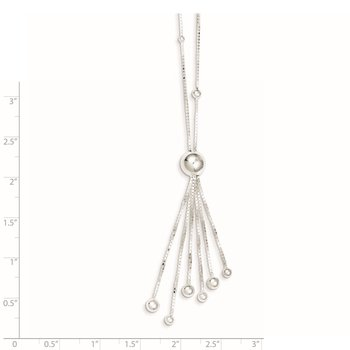 Sterling Silver Polished Beaded Tassel Necklace