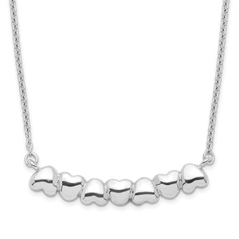 Sterling Silver Rhodium-plated w/2in ext Heart Bar Necklace
