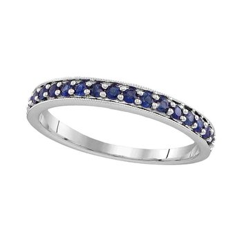 14kt White Gold Womens Round Pave-set Blue Sapphire Single Row Band 1/2 Cttw