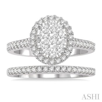 oval shape lovebright essential diamond wedding set