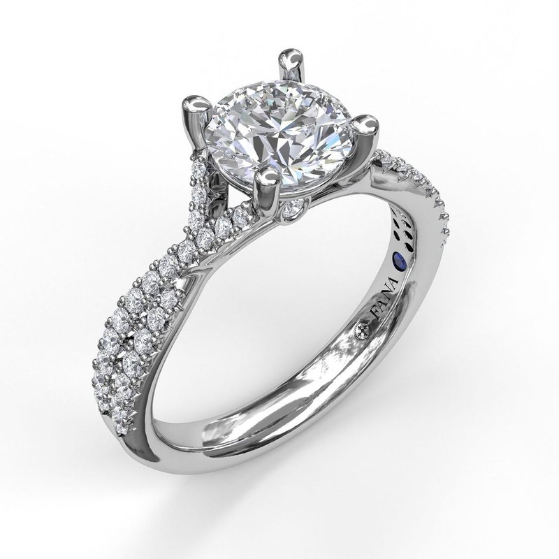 Fana Delicate Late Twist Diamond Engagement Ring