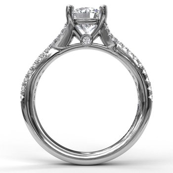 Delicate Late Twist Diamond Engagement Ring