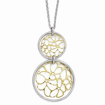 Leslie's Sterling Silver Gold-tone Flash Plated Polished Necklace
