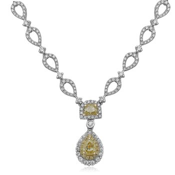 White & Yellow Diamond Drop Necklace