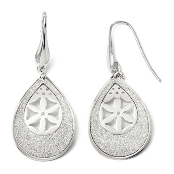 Leslie's SS Polished Laser cut Dangle Shepherd Hook Earrings