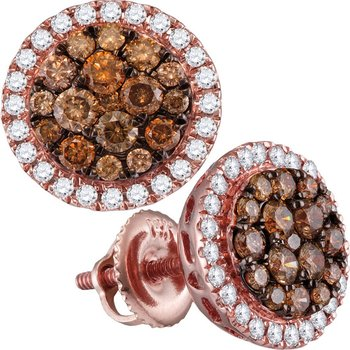 14kt Rose Gold Womens Round Cognac-brown Color Enhanced Diamond Circle Frame Cluster Earrings 1.00 Cttw