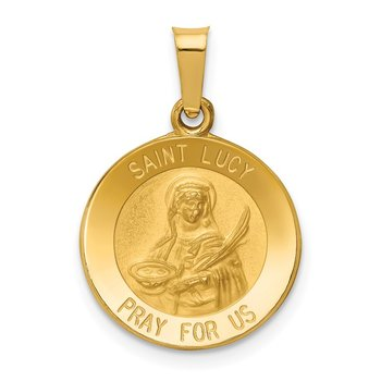 14k Polished and Satin St Lucy Medal Hollow Pendant