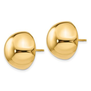 14k Polished 16mm Half Ball Post Earrings