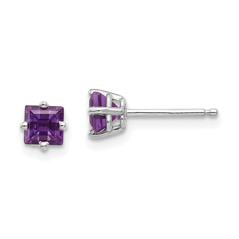 Quality Gold 14k White Gold 4mm Princess Cut Amethyst Earrings