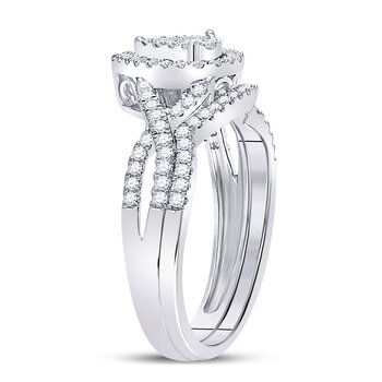10kt White Gold Womens Round Diamond Teardrop Bridal Wedding Engagement Ring Band Set 1/2 Cttw