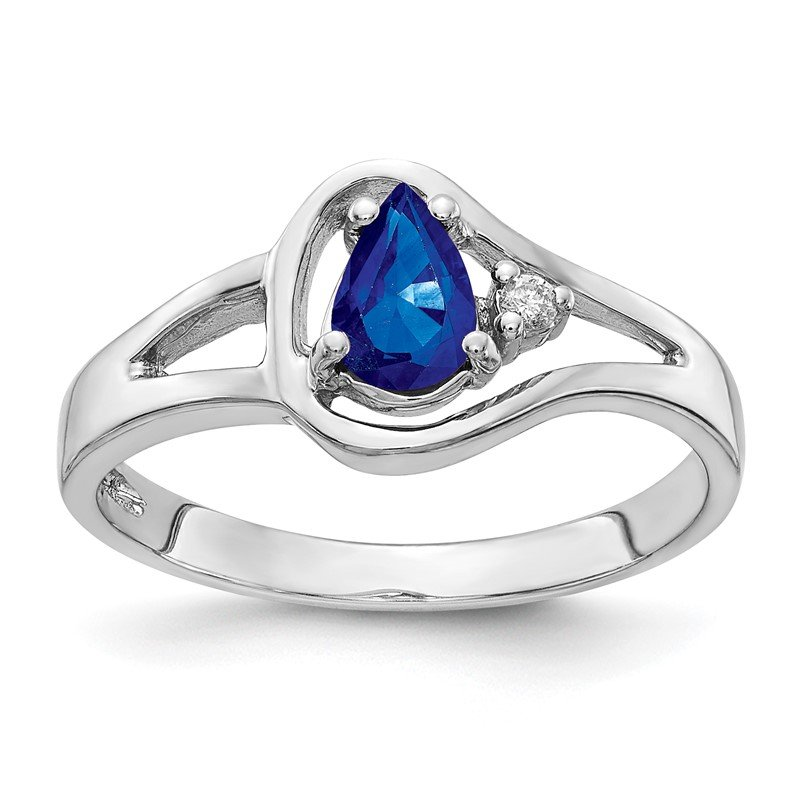 JC Sipe Essentials 14k White Gold 6x4mm Pear Sapphire AA Diamond ring