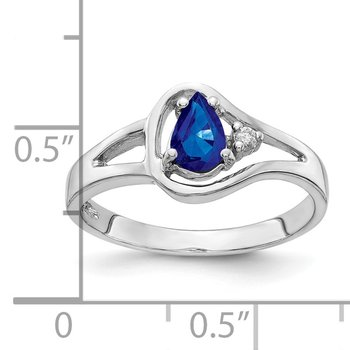 14k White Gold 6x4mm Pear Sapphire AA Diamond ring