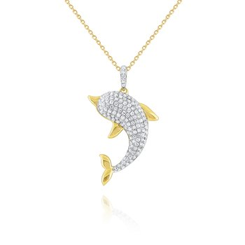 14k Gold and Diamond Dolphin Necklace