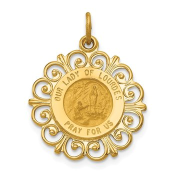 14k Our Lady of Lourdes Medal Pendant