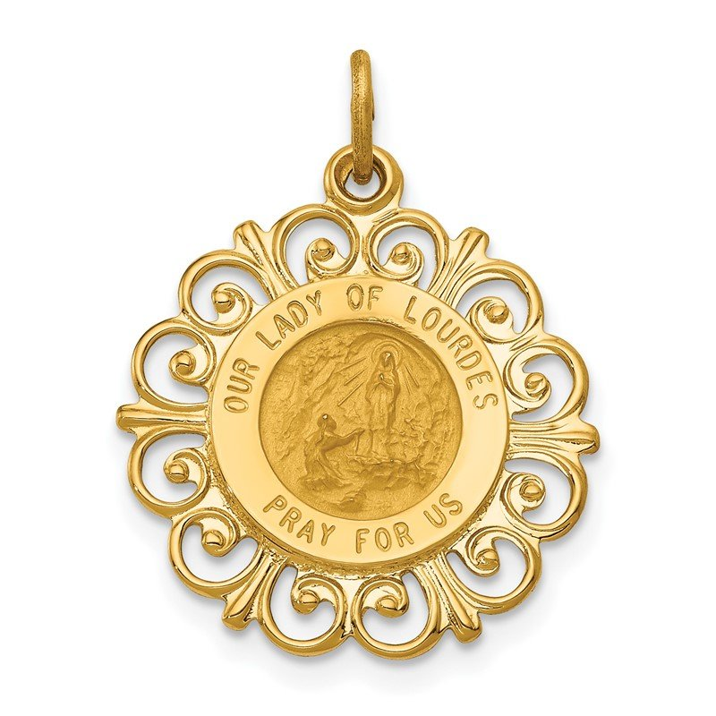 Quality Gold 14k Our Lady of Lourdes Medal Pendant