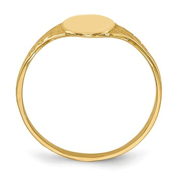 14K Oval Polished Child Signet Ring