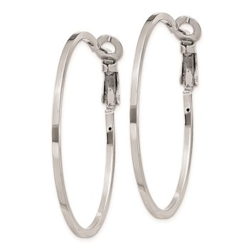 Sterling Silver RH-plated 1.5x40mm Omega Back Hoop Earrings
