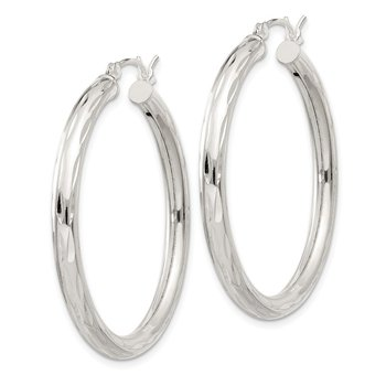 Sterling Silver Diamond-cut Satin 3x35mm Hoop Earrings