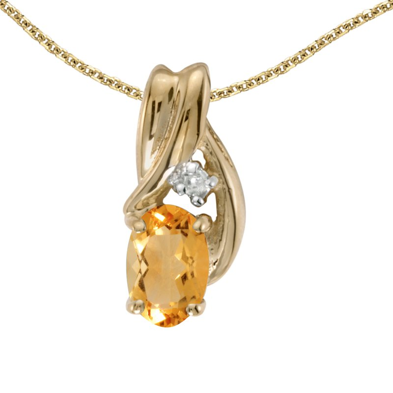 Color Merchants 14k Yellow Gold Oval Citrine And Diamond Pendant