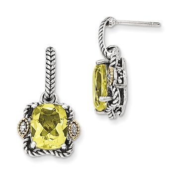 Sterling Silver w/14k Antiqued Lemon Quartz & Diamond Post Earrings