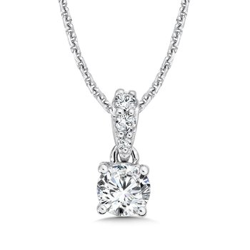 Diamond Solitaire Pendant with Diamond Bale in 14K White Gold (1/2ct. tw.)