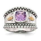 Quality Gold Sterling Silver w/14k Amethyst Ring