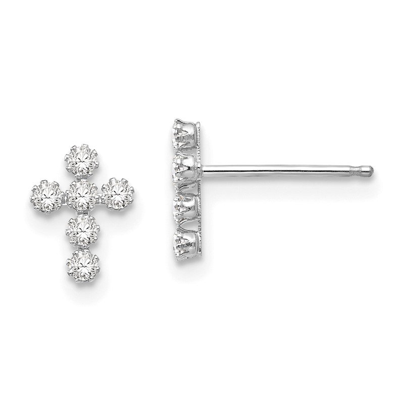 Quality Gold 14k White Gold Madi K CZ Cross Post Earrings
