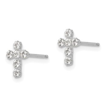 14k White Gold Madi K CZ Cross Post Earrings
