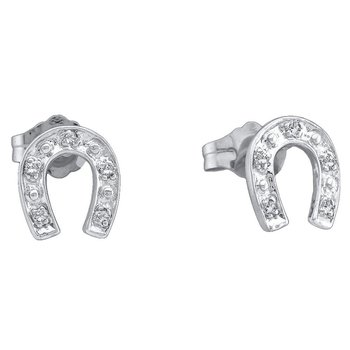Sterling Silver Womens Round Diamond Lucky Horseshoe Screwback Earrings 1/20 Cttw