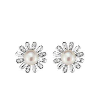 Silver Freshwater Pearl and CZ Flower Stud Earrings