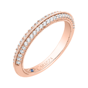 18K Rose Gold Round Diamond Half-Eternity Wedding Band